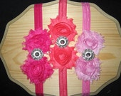 Set of 3 Double Shabby Chic Frayed Flower Headbands with Rhinestone centers