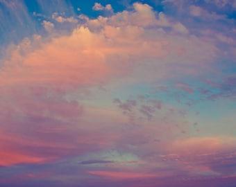 Sky Photograph Digital Download Fantasy Sky Fine Art Photography skies clouds sunset blue pink purple violet photo print wall art