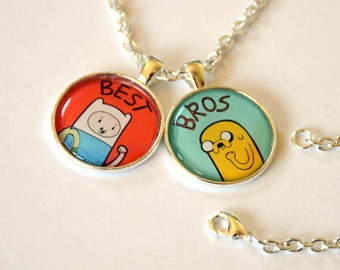 Adventure Time Finn and Jake / Fionna and Cake Friendship Necklace w/ two chains
