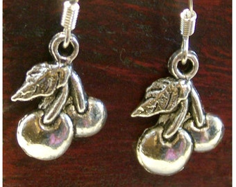 CHERRY Antiqued Silver Colored Dangle Earrings by Watto's Wife/ FREE Shipping in US / Rockabilly Earrings / Cherries / Pin-Up Earrings/Retro