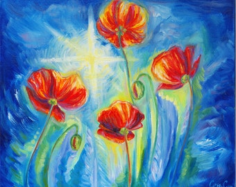 SALE - 35% OFF - Oil Original Painting - Poppies against the sky - Flowers - Poppy - Art - Home decor - Modern - Family