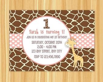 Giraffe Invitation | Giraffe Birthday Party Invitation | Giraffe Party | Pink Giraffe Birthday Party | First Birthday