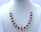 Handmade Lampwork and Sterling Silver Necklace, Ruby Red and White handmade disc beads, very cool, very different