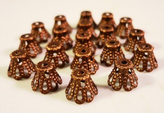 Copper Bead Caps 5x6mm Antique Copper Metal Filigree Basket Beadcap End Cap Jewelry Making Findings Fits 5-8mm Beads 100pcs