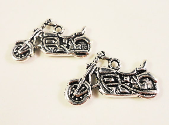 Silver Motorcycle Charms 24x17mm Antique Silver Tone Metal Motorbike Bike Double Sided Charms Motorcycle Pendants Jewelry Findings 10pcs