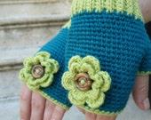 Crochet fingerless gloves, teal blue, lime green mittens, knit wrist warmers