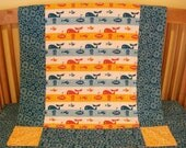 Organic Baby Quilt, Toddler Quilt, Whales, Nautical, Organic, Crib Bedding, Baby Blanket, Modern Quilt, Teal, Orange, Red