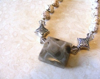 Genuine Petosky Stone Focal Pendant Stone Necklace