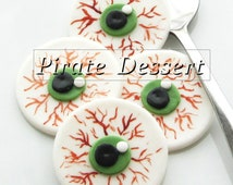 Edible Halloween cupcake toppers - EYE BALLS- Fondant cake decorations Halloween Cupcakes  (6 pieces)