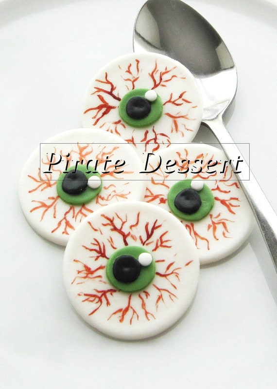 Edible Cake Decorations Halloween : Edible Halloween cupcake toppers EYE BALLS Fondant cake