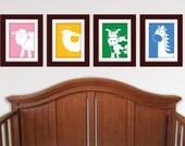 Set of Any 4 Modern Farm Series Prints. Modern Farm nursery art. Children's art. Farm nursery decor. Farm animal wall art.