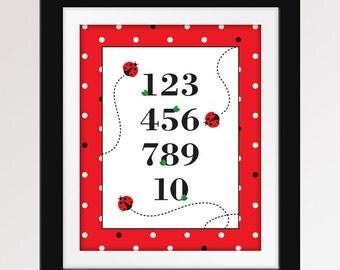 8x10 Ladybug Numbers 123 Print. Ladybug Nursery. 123 numbers nursery art.