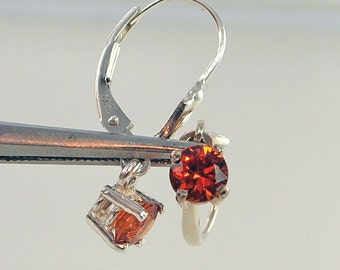 Spessartite Garnet Leverback Earrings Sterling Silver 0.88 Carat