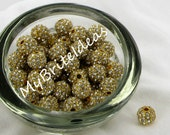 5) 8MM GOLD & CRYSTAL Rhinestone Alloy Metal Pave Beads - Beads Jewelry Supplies Crafting Supplies Jewelry Making