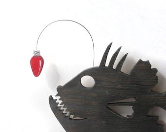 Angler Fish, Christmas decor, beach, wood sign, cottage chic, whimsical, wood, handmade, wall art, funny, christmas lights,