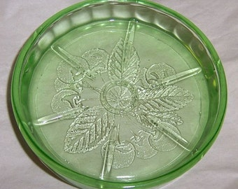 Jeannette Depression Glass Green CHERRY BLOSSOM 3 1/8 Inch Coaster