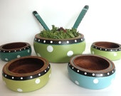 Salad Bowl Set, hand painted, whimsical, blue, green, black, white dots