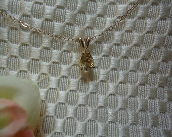 Pear cut Citrine Necklace in Sterling Silver