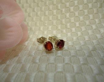Red Sapphire Earrings in Sterling Silver