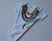 baby girl onesie or toddler girl t shirt hand sewn initial and colorful pom pom necklace birthday outfit or photo prop