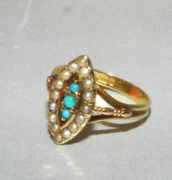 15K Gold Georgian Ring, Navette, Victorian Ring, Hallmarked 1864, Persian Turquoise & Seed Pearl, Civil War Era