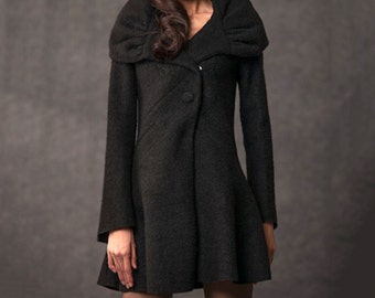 black wool coat Oversized shawl collar jacket C047