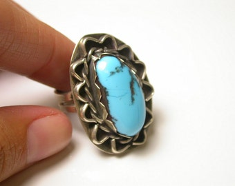Sterling Silver and Turquoise Ring - Free Form Turquoise - Blue - Size 8 - Weight 8.9 Grams - REDUCED # 32