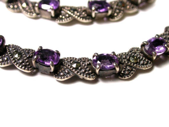 Reserved Vintage Marcasite and Amethyst Necklace