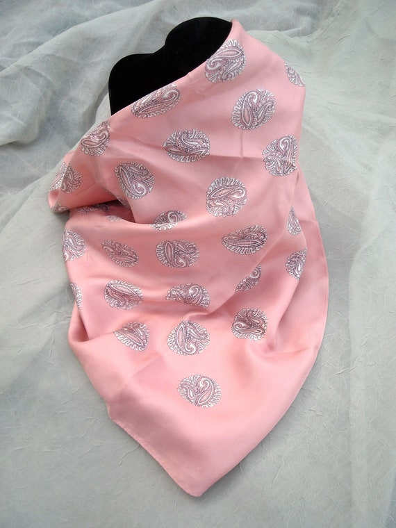 Vintage Kreier Silk Scarf, Paisley in Pink, Made in Switzerland, Sophisticated Shabby Chic