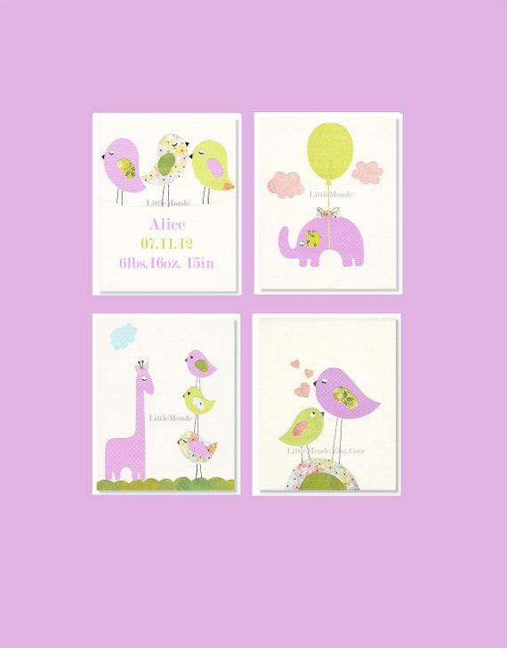 Baby Girl Nursery Art Purple Nursery Art Set Of 4 Nursery