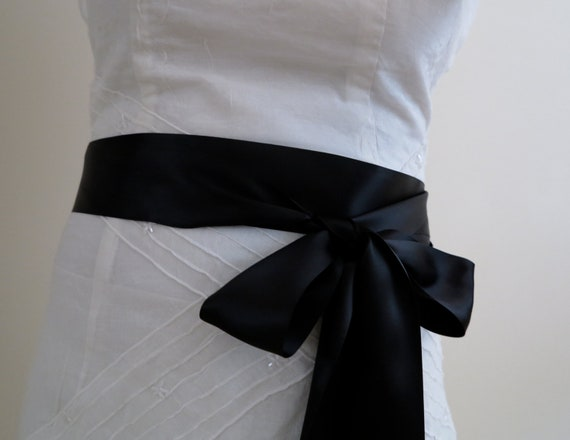 Black Satin Sash Belt, Bridal Bridesmaids Flower girl Sashes, 2 inch sash, Wedding accessory, Wedding gift, Choose your colour