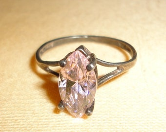 925 PINK CZ vintage solitaire ring
