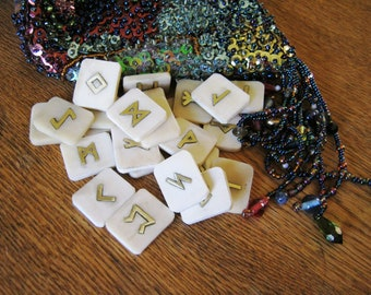 Rune Set. Bone runes.  Bone and Brass Elder Futhark Runes