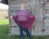 Swingy Asymmetrical Burgundy Stretch Lace Poncho