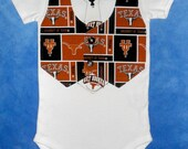 College Football Team Vest & Tie Baby Onesie or Toddler Shirt with University of Texas Longhorns...or CHOOSE your TEAM
