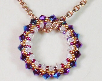 Bead Weaving Pendant Necklace, Circle of Life Necklace, Bead Woven Necklace, Crystal Bead Woven Necklace
