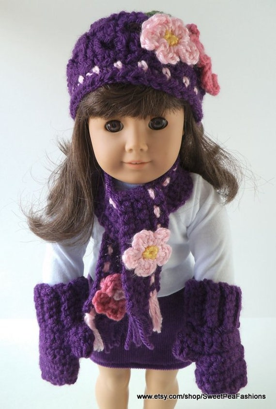 American Girl Purple Hat, Scarf, and Mittens Set