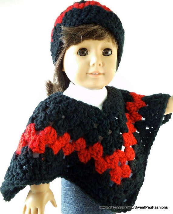 American Girl Black and Red Poncho Set
