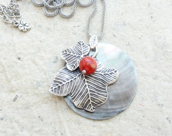 Shell and Coral Necklace - Berries and Leaves