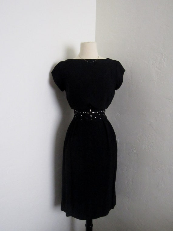 on HOLD SALE 10 percent off with code vintage 1960s Minx Modes chic mod little black cocktail wiggle dress