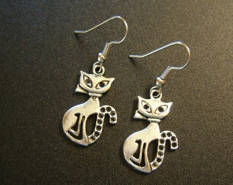 Tibetan Silver Kitty Earrings