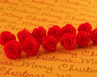12 Red Flower Push Pins or Magnets