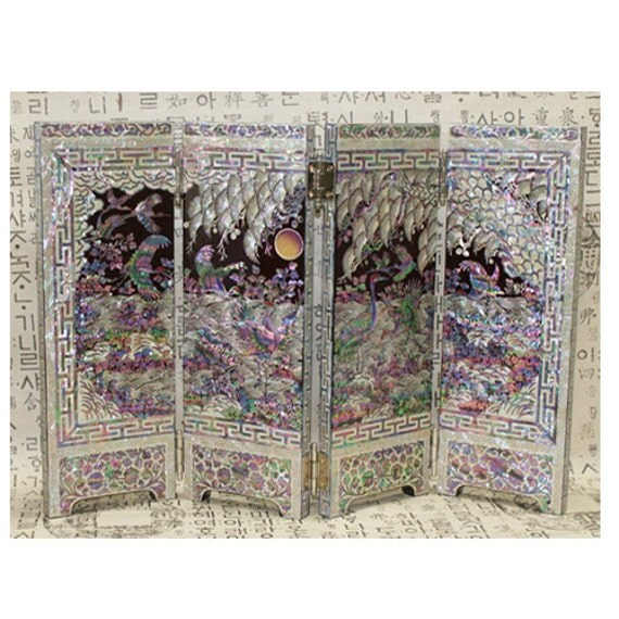 Mother Of Pearl Inlay Wooden Mini Folding Screen Asian: Mini Portable Screen Room Folding Divider Lacquer Ware Inlaid