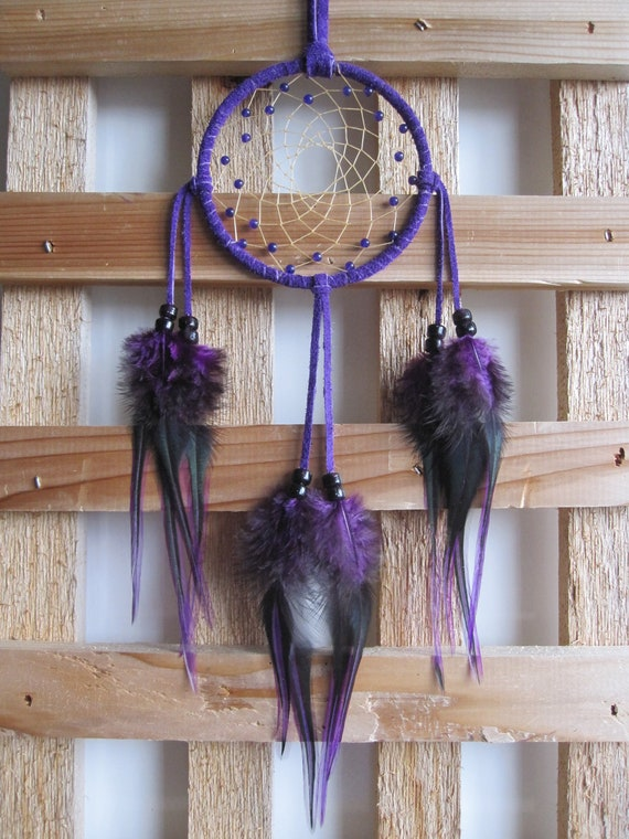 Purple Suede Dream Catcher with Deep Purple Rooster Feathers