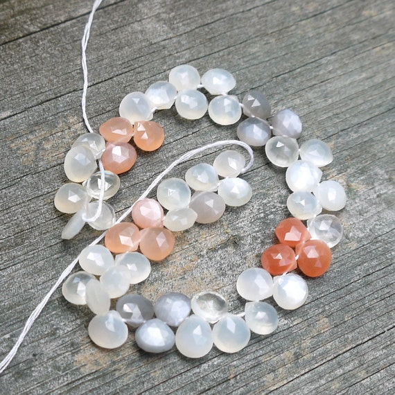 CLEARANCE--Rainbow Moonstone Beads, Heart Shaped Gemstone Briolettes--4 inch strand