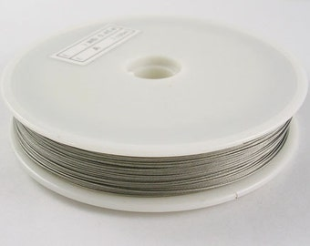 Tiger Tail Wire Silver Jewelry Wire Silver Wire .45mm Wholesale Wire Bulk Wire 164 feet 1 Roll Steel Wire