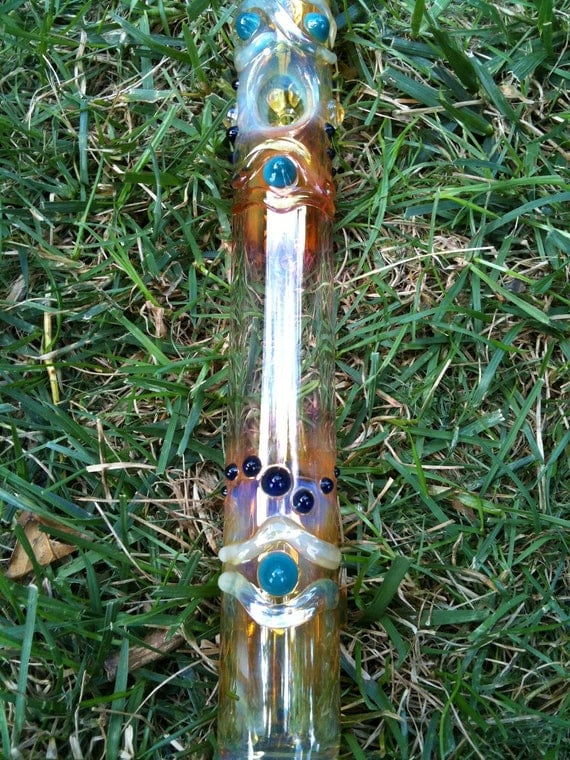 Glass pipe steamroller. Aqua with blue highlights.  Color changing. Super cool.