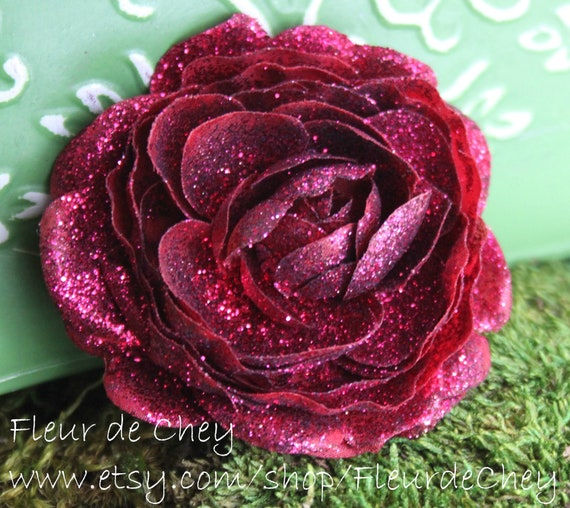 Glittered Deep Cranberry Red Ranunculus Alligator Hair Clip- Handmade Floral Headpiece