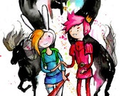 Fionna and Prince Bubblegum, 8.5x11 inch inkjet print / Adventure Time Fan Art Finn and Jake Painting
