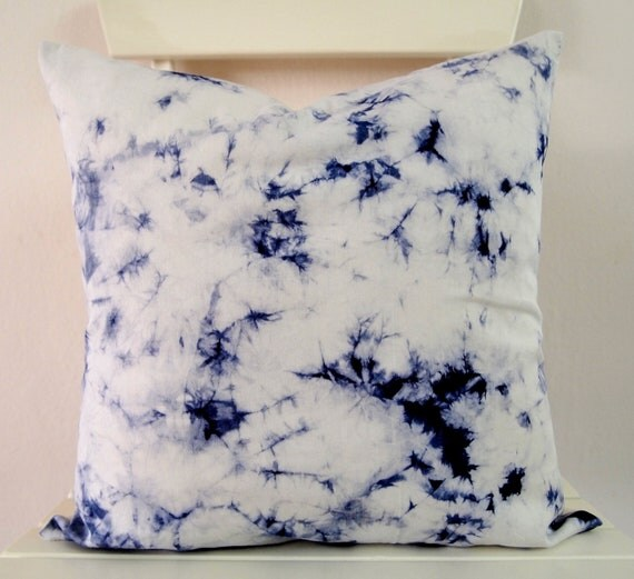 Decorative Throw Pillow Cover Electric Blue by KateBatikShop